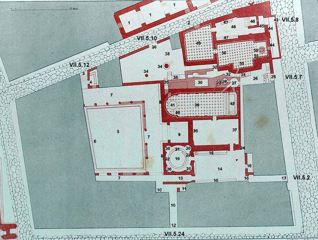 Pompei, Terme del foro - map